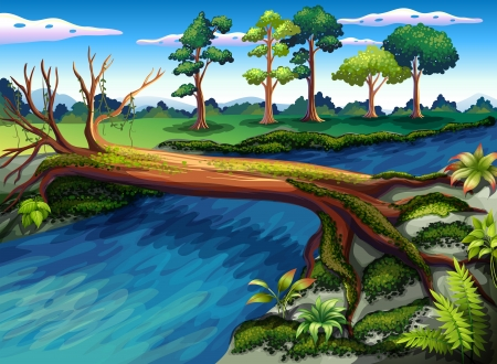 Illustration of a tree with algae at the river Vector