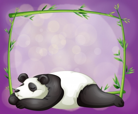 Illustration of a stationery with a bamboo frame and a panda Vector
