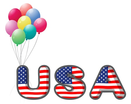 star clipart: Illustration of the USA letters with colorful balloons on a white background