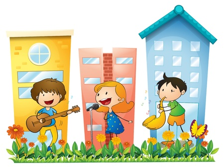 performing: Illustration of the musicians performing near the buildings on a white background