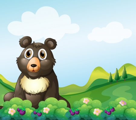Illustration of a big bear sitting in the garden  Vector