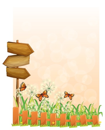 fence post: Illustration of a garden scenery with a wooden arrow board on a white background