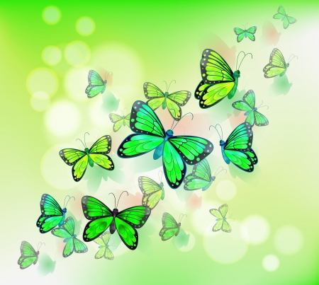 Illustration of the group of green butterflies Vector