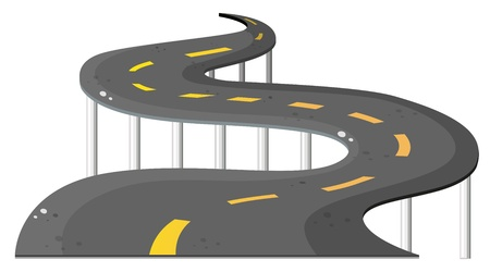 steel bridge: Illustration of a long road on a white background Illustration