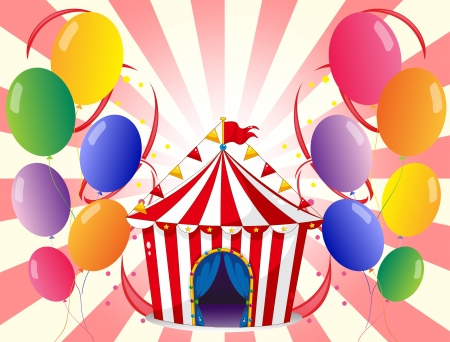 picure: Illustration of a red circus tent with balloons Illustration