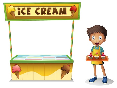 Illustration of a boy selling ice cream for summer on a white background Vector