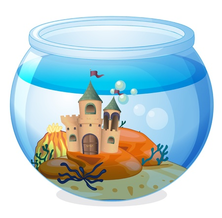 breakable: Illustration of a castle inside the aquarium on a white background Illustration