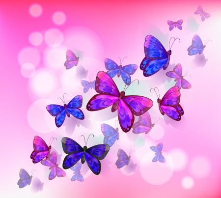 Illustration of a pink stationery with a group of butterflies Vector
