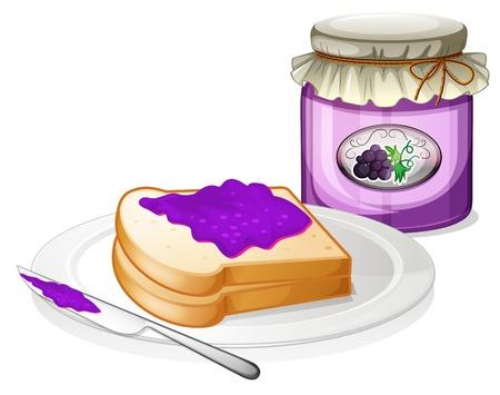 dżem: Ilustracja z winogron dżem z kanapką w tablicy na białym tle