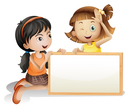 pic  picture: Illustration of the two girls with a blank white board on a white background