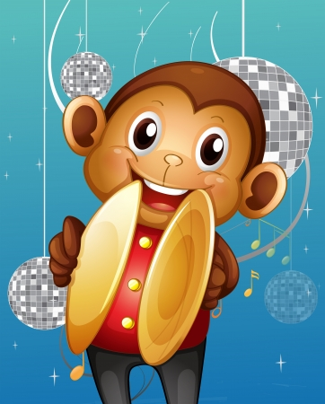 Illustration of a monkey with cymbals in a disco house Vector