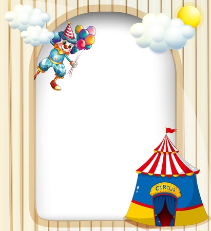 theme parks: Illustration of a template with a clown and a circus tent