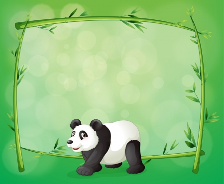 Illustration of a framed bamboo with a big panda Vector