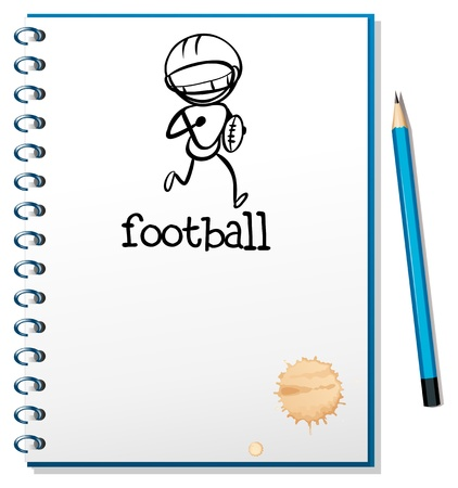 Illustration of a notebook with a sketch of a football athlete on a white background Stock Vector - 18836152