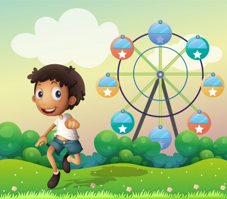 Illustration of a boy in front of a ferris wheel Stock Vector - 18836257