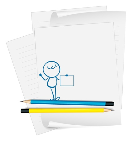 yellow notebook: Illustration of a paper with a sketch of a person holding an empty paper on a white background