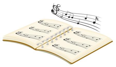 Illustratie van de muzikale boek met muzieknoten op een witte achtergrond