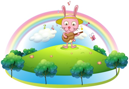 rainbow music: Illustration of a bunny playing with the guitar in the hill on a white background