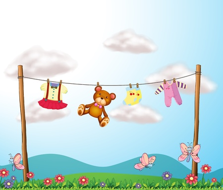 Illustration of a childs clothes hanging with a teddy bear Vector