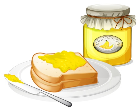 melaware: Illustration of a plate with a bread and a jar of banana jam on a white background