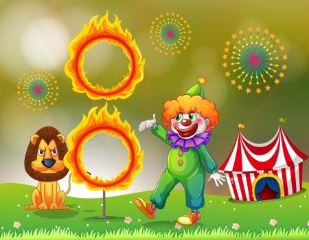 fire ring: Ilustraci�n de un anillo de fuego con un payaso y un le�n en el carnaval
