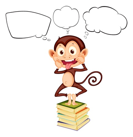 picure: Illustration of a monkey above the pile of books with empty callouts on a white background