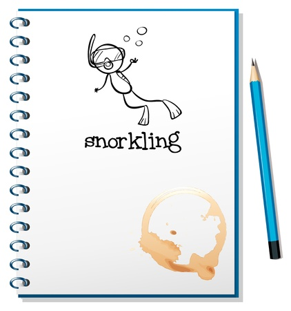 Illustration of a notebook with a sketch of a person snorkling on a white background Vector