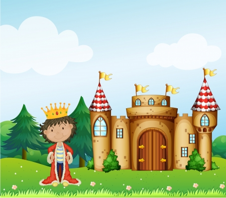 Illustration of king in front of his castle Vector
