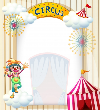 Illustration of a clown in the circus on a white background Vector