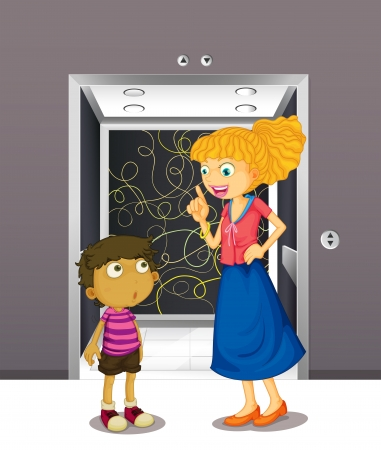 people in elevator: Illustration of a mother and his son at the elevator