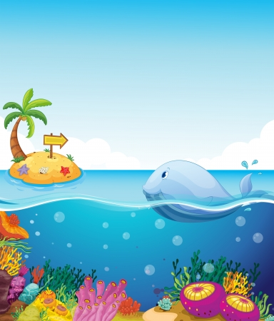 Illustration of a fish looking at the island with an arrow Vector