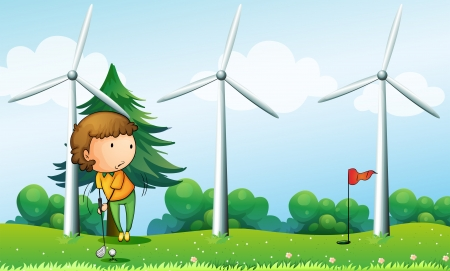 Illustration of a girl playing golf near the windmills Vector