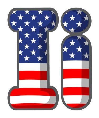 united states flags: Illustration of United states letter of the alphabet Illustration