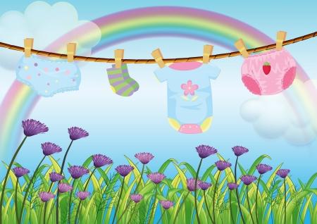 ropa colgada: Ilustración de la ropa de un niño que colgaba sobre el jardín