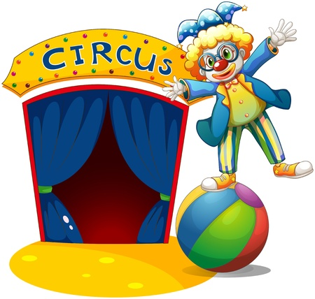 house series: Illustration of a clown at the top of the ball beside a circus house on a white background