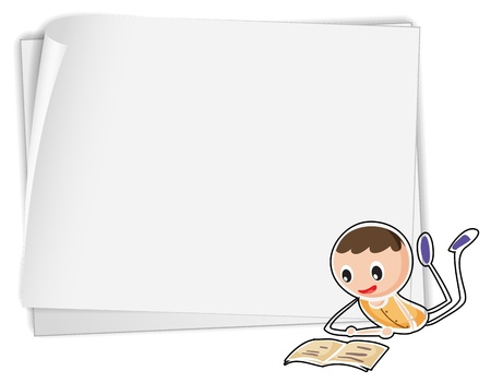 write writing: Illustration of a bondpaper with a boy on a white background