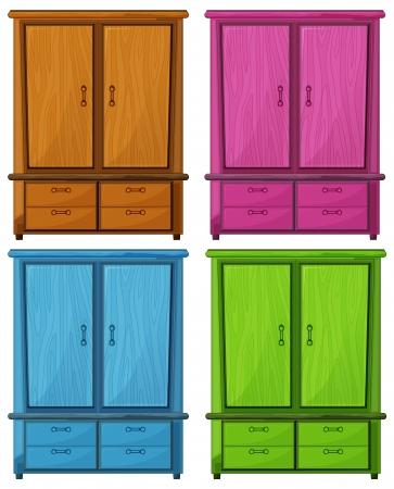 Illustratie van de vier verschillende kleuren van een houten kast op een witte achtergrond