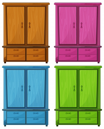 closets: Illustration of the four different colors of a wooden cabinet on a white background