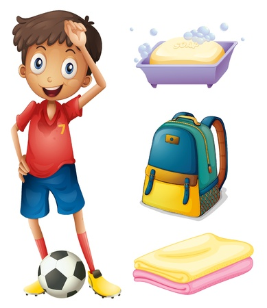 Illustration of a soccer player with his backpack and bathroom stuffs on a white backgrounds  Vector