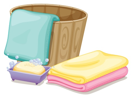 Illustration of the pail with towels and a soap in a soap box on a white background Vector