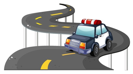 Illustration of a police car at the road on a white background Vector