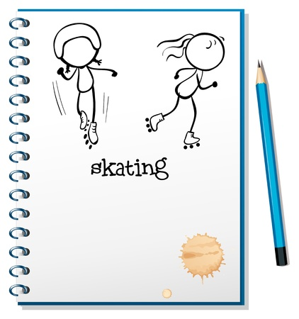 bocetos de personas: Ilustración de un cuaderno con un dibujo de dos personas patinando sobre un fondo blanco