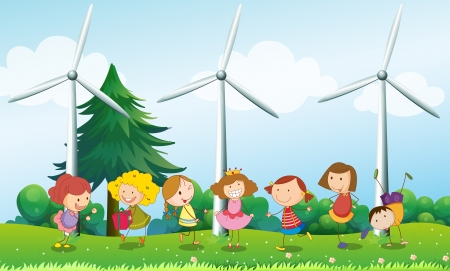 Illustration of the seven kids playing in the hill with three windmills Stock Vector - 18840166