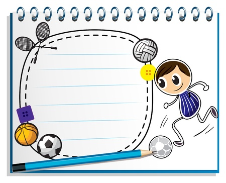 Illustration of a notebook with a sketch of the different sports game on a white background Stock Vector - 18840142