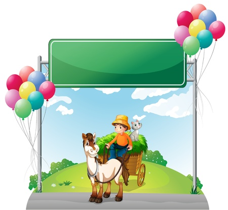 Illustration of a farmer riding with his cart below the empty board on a white background Vector