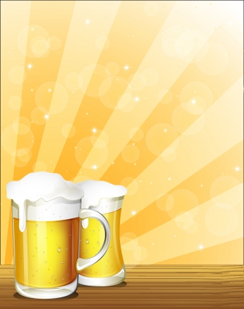 beer texture: Illustration of the two glasses of beer Illustration