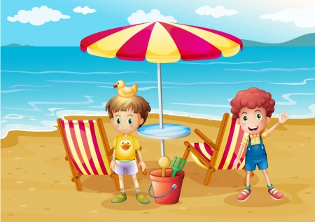 Illustration of the two boys at the beach near the umbrella and chairs Vector