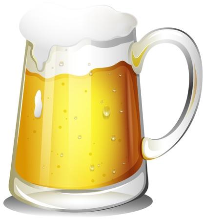 alcoholist: Illustratie van een glas koude alcoholische drank op een witte achtergrond