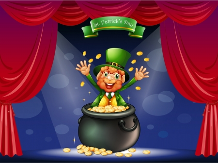 centerstage: Illustration of a man in a pot at the center of the stage Illustration