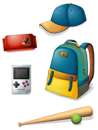 baseball stuff: Illustration of the things used by a typical young boy on a white background
